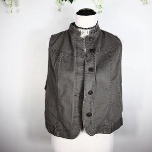 Gap Gray Denim Button Down Jacket Vest Large